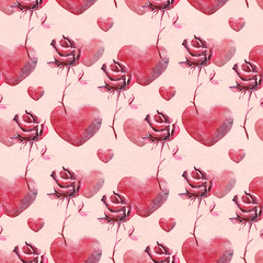 watercolor hearts and rose pattern