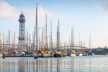 Port of Barcelona, Spain. Yachts, sailing boats