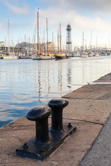 Port of Barcelona, Spain. Big black steel bollard