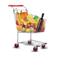 Shopping cart of groceries