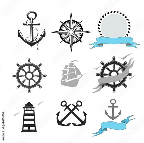 Illustration of set marine icons - 74991694