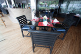 restaurant seats and tables near the river, restaurant interior