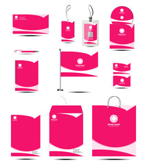 Clean corporate identity stationery template with pink color