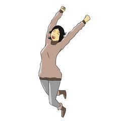 woman pose celebrate coat happy smile action jump joy