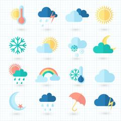 Set of weather icons on blueprint