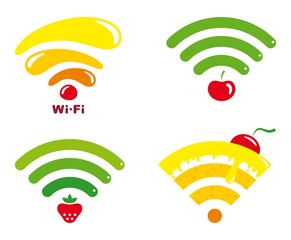 Wi-fi icons with symbols of fruit and sweets