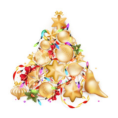 Golden Christmas background. EPS 10