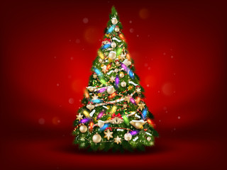 Abstract green christmas tree on red background. EPS 10