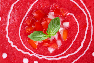 Gazpacho soup isolated on white