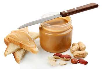Creamy peanut butter, isolated on white