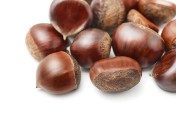 Close up of fresh chestnuts
