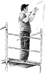 construction worker on a scaffold