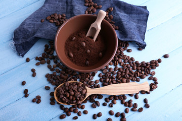 Brown bowl of ground coffee and coffee beans with wooden spoon
