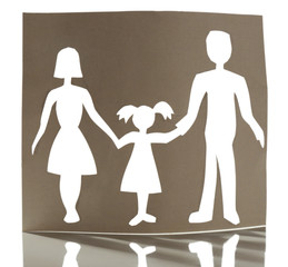 Cutout paper family on white background