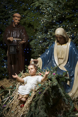 Christmas Nativity Scene with Mary Jesus and Wise Man