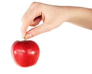 Woman holding red apple, isolated on white background