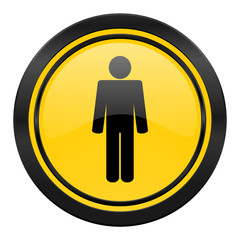 male icon, yellow logo, male gender sign