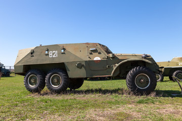 An old Soviet BTR-152 wheeled armored personnel carrier