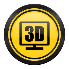 3d display icon, yellow logo