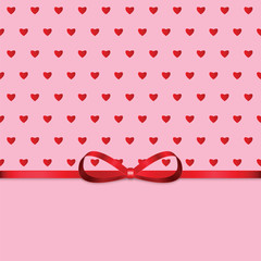 Background with a pattern of hearts and red ribbon for Valentine