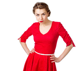 cute girl in a red dress isolated on white