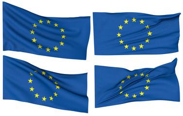 European flag waving on a white background