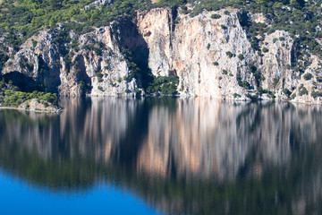 Beautiful cliffs reflected in the lake
