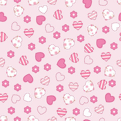 Seamless pattern with pink hearts and flowers