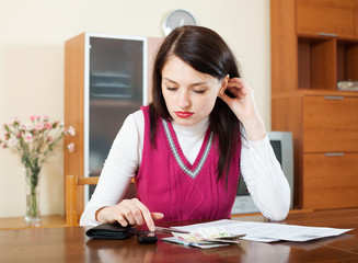 serious  woman calculating the family budget