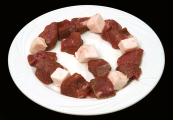 Meat on a white plate