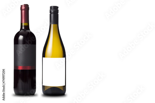 Poster Wijn Two wine bottles black and white