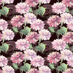 Garden flower seamless pattern