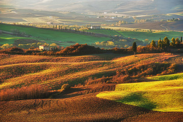 The beautiful Tuscan countryside around San Quirico d'Orcia, Ita