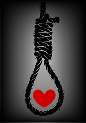 Old rope with hangman's noose and heart