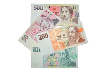 Czech crowns banknotes currency