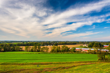 View of farm fields in rural Lancaster County, Pennsylvania.