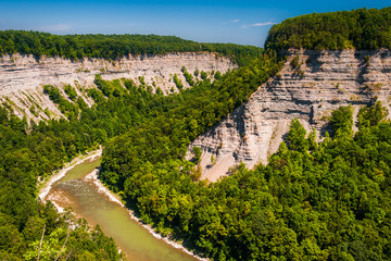 View of the deep  Genesee River gorge in Letchworth State Park,