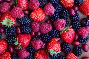 strawberries, dogwood, blackberries and raspberries, top view,