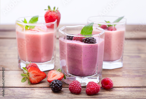 Drink smoothies strawberry, blackberry, kiwi, raspberry poster