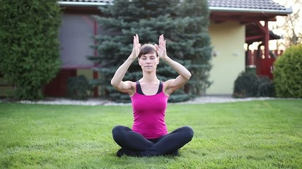 Woman practice yoga outdoor breathing
