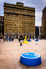 Art installation and One City Plaza in Center City, Philadelphia