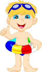 Boy with inflatable circle thumb up