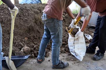 Thai men digging soil for make garden