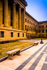 Bench and exterior of the Art Museum in Philadelphia, Pennsylvan