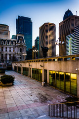 Courtyard and skyscrapers in Center City, Philadelphia, Pennsylv