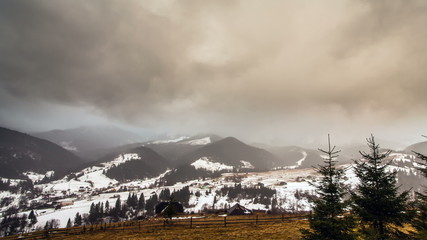 Winter. The Mountain landscape.