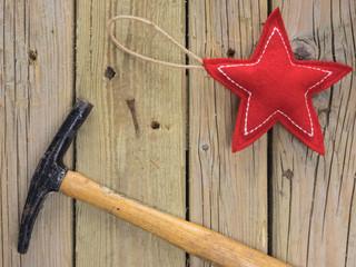 Christmas star hammer and nail