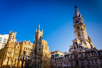 Evening light on City Hall and the Masonic Temple, in Philadelph