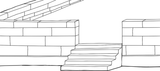 Outline Concrete Block Patio