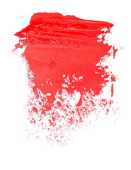 red grunge brush strokes oil paint isolated on white background